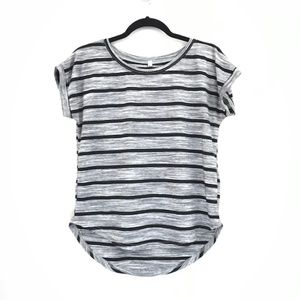 Poof Black Gray Striped Cap Sleeve Tee Shirt